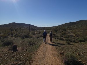 Two hikers enjoying the Apache wash loop hike (Phoenix sonoran preserve)