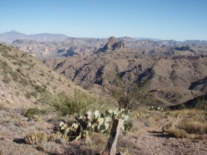 Unique views of Weavers Needle along the Superstition Ridgeline trail