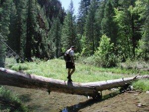 Hiker crossing West Clear creek