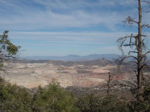 open pit mine as seen from the Madera peak trail